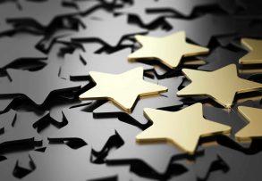 Six,Golden,Stars,Over,Black,Background.,3d,Illustration,Of,High