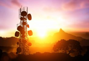 Telecommunication,Mast,Television,Antennas,On,Sunset